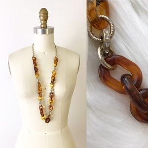 Ann Taylor LOFT Lucite Chain Necklace in Amber